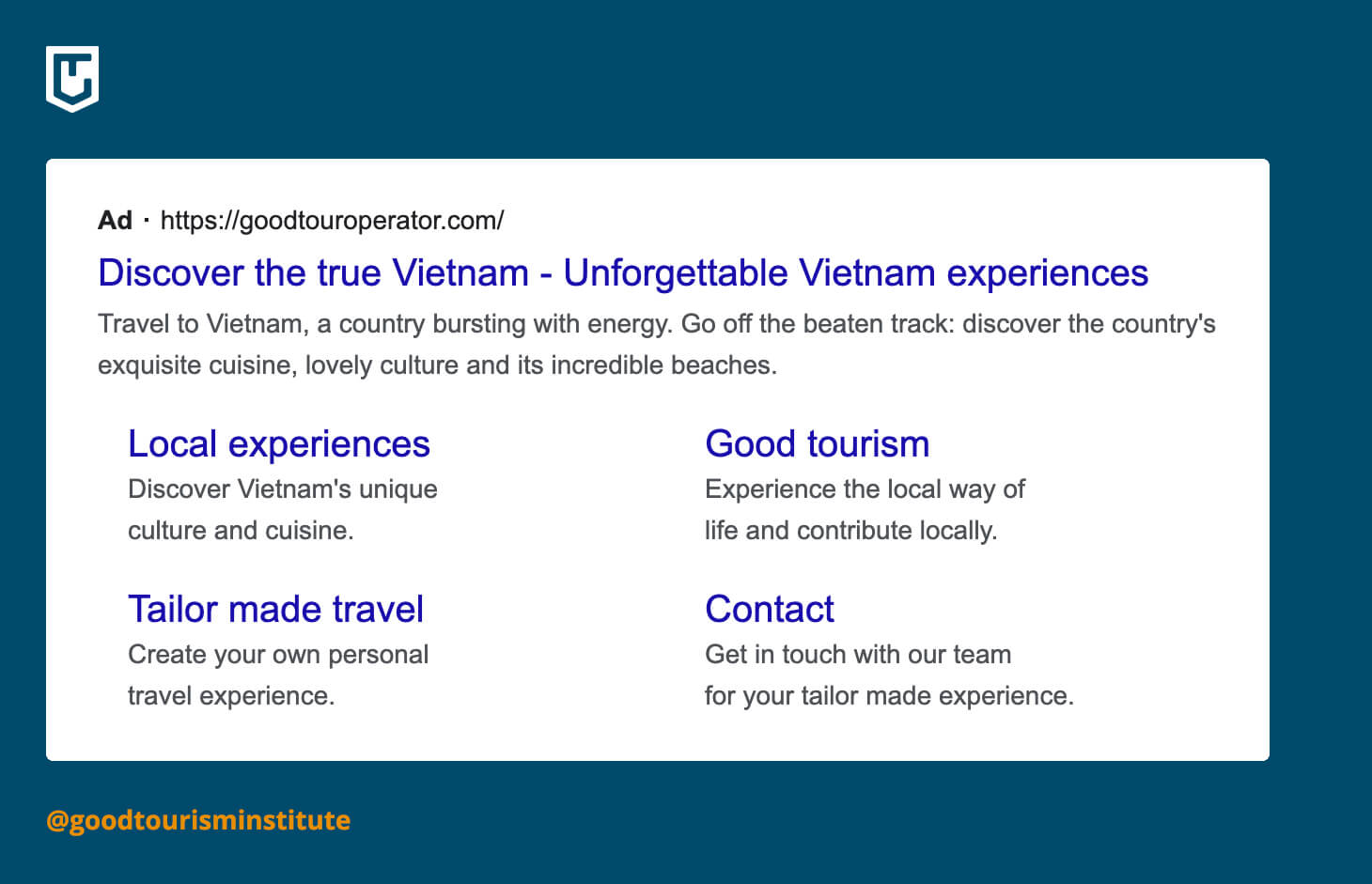 Google Ads example in tourism